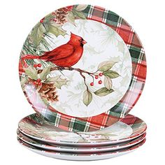 Add a bit of holiday spirit to your tablescape with the Winter Field Notes Dinner Plates from Certified International. Crafted of ceramic, these jovial plates are adorned with berries, poinsettias, cardinals and accented in a festive plaid trim. Christmas Dishes, Christmas Tablescapes, Christmas China, Holiday Decorations, Xmas, Christmas Ornaments, Dinner Plate Sets, Dinner Plates, Appetizer Plates