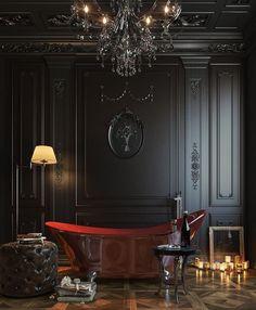 New bathroom interior classic floors 33 Ideas Gothic Interior, Classic Interior, Black Interior Design, Ceiling Chandelier, Black Chandelier, Ceiling Lighting, Dark Interiors, Design Interiors, Gothic House