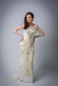White crystal beaded floor length wedding/ by BibiCoutureGowns