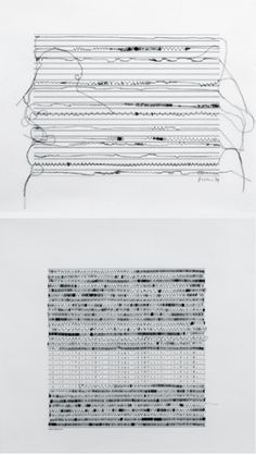 Manfred Mohr   Hybrid Sewing-Computer Drawings (P-159-Sewing-A/B), 1974