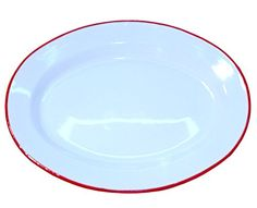 """Enamelware 12"""" Oval Luncheon Plate, Vintage White with Red Rim Crow Canyon Home http://www.amazon.com/dp/B004QPI3LS/ref=cm_sw_r_pi_dp_j98gub1PC2MMZ"""