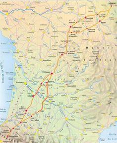 Voie Vézelay : Sur le tronçon de Vézelay à Gargilesse dans l'Indre, deux branches distinctes coexistent. La branche nord passe par Bourges, la branche sud par Nevers. La voie poursuit ensuite par La Souterraine, Limoges, Périgueux, La Réole, Roquefort-des-Landes, Mont-de-Marsan, Orthez, Saint-Palais, Ostabat, puis Saint-Jean-Pied-de-Port, Roncevaux