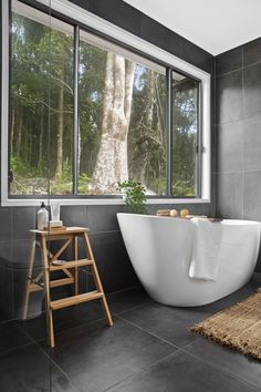 Floor to wall in Belga Charcoal 👌 The ultimate timeless tile! Rustic Bathroom Shelves, Rustic Bathroom Designs, Rustic Bathroom Vanities, Bathroom Storage Shelves, Bathroom Design Small, Bathroom Interior, Modern Bathroom, Bathroom Ideas, Bathroom Inspo