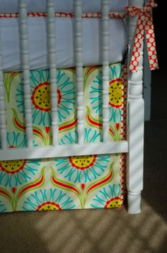 DIY Bed skirt that can shorten or lengthen with the crib as it changes heights