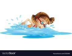 A small girl swimming Royalty Free Vector Image Free Vector Images, Vector Free, Image Clipart, Girl Clipart, Girls Swimming, Girls Image, Coloring Sheets, Tinkerbell, Summer Fun