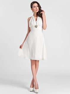 帰省膝丈シフォン花嫁介添人ドレス - アイボリープラスはライン/王女ホルターのサイズ - USD $69.99