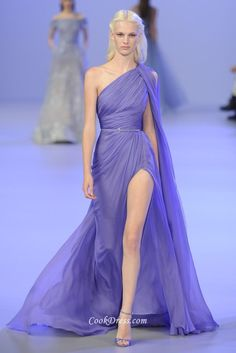 Sophisticated and breathtaking lilac chiffon evening gown with modern silhouette, unique chic and elegant dress with attention to detail. Ethereal chiffon skirt flows for airy and elegant. High side slit completes.