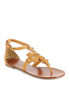 Tory Burch Phoebe Leather Logo Sandals