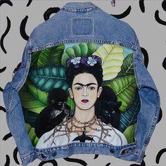 Frida Kahlo hand painted vintage denim jacket painted