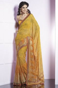 Yellow #Georgette #sarees by Yellow Fashion.