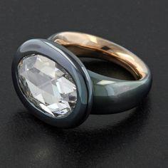 taffinjewelryRose cut diamond, gun metal and rose gold.