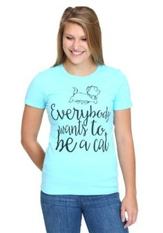 "This is an officially licensed Aristocats juniors T-Shirt with ""Everybody wants to be a cat"" printed on the front."