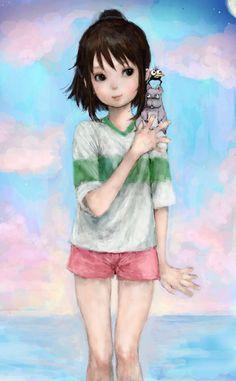 Spirited Away - Chihiro,the Baby, and the Crow