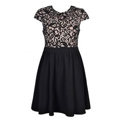 DRESS WITH BONDED LACE TOP