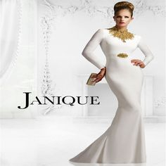 2017 Janique W993 Gold beaded High Neck Mother of the Bridal Dresses with Long Sleeves Jersey Mother's Gown