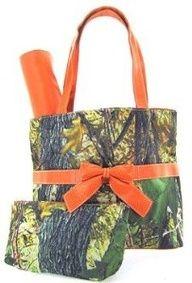 Camo Camouflage Tote Purse Diaper Bag You Choose Color! Pink Orange Brown or Black (Orange),$38.99