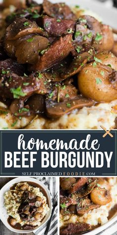 Beef Burgundy is an easy dinner recipe that can be made in the slow cooker, an Instant Pot, or on the stovetop. This savory succulent red wine stew is filled with tender pieces of beef, mushrooms, pearl onions, and fresh herbs. This recipe is easy enough to make for a busy weeknight dinner and fancy enough to serve when entertaining guests. #beefburgundy #beef #slowcooker #instantpot #stove #mushrooms #wine #sauce #recipe #best Best Slow Cooker, Slow Cooker Beef, Slow Cooker Recipes, Cooking Recipes, Cooking Beef, Cooking Food, Cooking Ideas, Healthy Crockpot Recipes, Pork Recipes