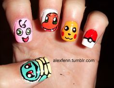 Inspiring DIY Pokemon Nail Art Design Theme With Funny Pikachu And Other Characters Motif