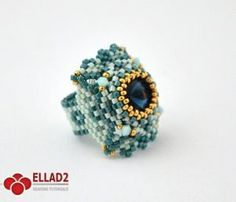 Beading Tutorial Mint Ring-Beading Tutotials and Patterns - Beading Projects, Beading Tutorials, Beading Patterns, Jewelry Patterns, Beaded Rings, Beaded Jewelry, Diy Jewelry, Tutorial Anillo, Earring Tutorial