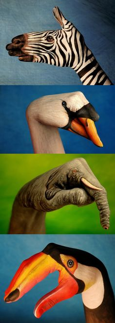 Painted hand animals, there should be a puppet show done with these :$