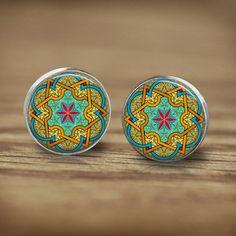 Stud Earrings – Mandala Turquoise Yellow Mosaic Stud Earrings – a unique product by MadamebutterflyMeagan on DaWanda