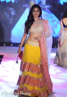 Shamita Shetty in Manish Malhotra for The Cancer Patients Aids Association  Love the lehnga style and the color combo!!