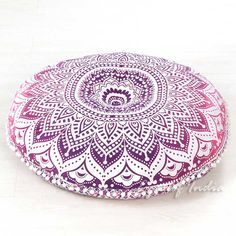 Pink Mandala Bohemian Hippie Floor Pillow Cushion Cover Pompom Mandala Throw- 32""