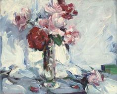 Samuel John Peploe, Pink and red roses in a vase
