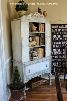 Vintage Country Style: Updated Vintage Cupboard Has New Purpose