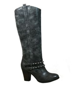 Take a look at this Slate Gray Distressed Studded Boot by Bamboo on #zulily today!