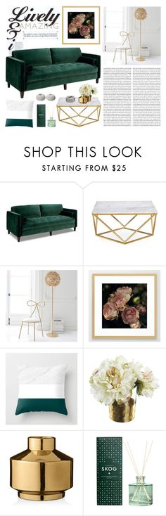"""Living Room - Emerald"" by artbyjwp ❤ liked on Polyvore featuring interior, interiors, interior design, home, home decor, interior decorating, PBteen, Paper Whites, Bloomingville and Skandinavisk"