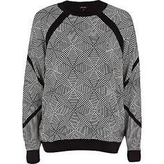 Black and white geometric jumper - jumpers - knitwear - women