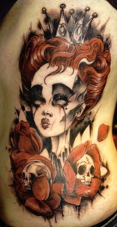 The Red Queen, Alice in Wonderland tattoo. Artist: Alix