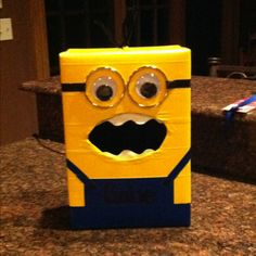 Gabes Valentine Boxthe Minion Wrapped Box Lid In Yellow Duct   Minion  Valentine Box