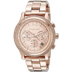 Michael Kors Heidi Analog Display Analog Quartz Rose Gold Watch ($295) ❤ liked on Polyvore featuring jewelry, watches, quartz bracelet, bracelet watches, rose bracelet, chronograph watches and pink dial watches