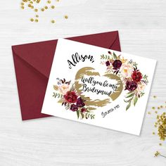 Creative Bridesmaids Proposal Ideas Burgundy Bridesmaid, Bridesmaid Flowers, Bridesmaid Proposal Cards, Bridesmaid Gifts, Bridesmaids, Wedding Roles, Scratch Off Cards, Will You Be My Bridesmaid, Maid Of Honor