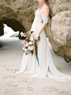 Off the Shoulder Gray Gown with a Blush and Burgundy Bouquet | Charla Storey Photography | The Perfect Wedding Dress for a Beach Bride!