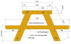 Picnic Table Designs - These free picnic table plans are great when you plan to build a picnic table. See the other picnic table plans available. Build A Picnic Table, Wooden Picnic Tables, Pallet Patio Furniture, Outdoor Furniture Plans, Wood Furniture, Bench Plans, Wood Plans, Woodworking Projects Diy, Woodworking Store