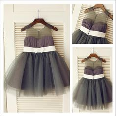29270936cef Dark Grey Short Flower Girl Dress Puffy Tutu Dresses with White Belt ASD028