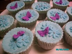 Chocolate Mud Cupcakes - Embossed Cornflour Blue with Empress Purple Mini Butterflies.  For Stall at CWA Garden Party