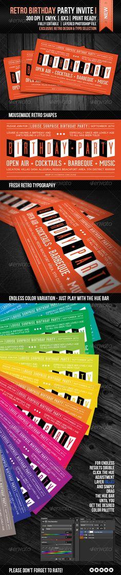 Retro Birthday Party Invite I - GraphicRiver Item for Sale