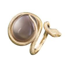 Ole Lynggaard Copenhagen | Exquisite Snake ring in 18k gold combined with grey moonstone and diamonds