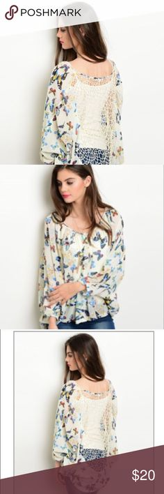 Butterfly Blouse🍃 Beautiful Butterfly Blouse for sale. Absolutely amazing design and gorgeous with a pair of jeans! Dress it up or down! Either way this top is fab! Tops Blouses