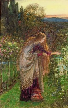 poboh: The Sensitive Plant, study, Sir Frank Dicksee. English Pre-Raphaelite Painter - poboh: The Sensitive Plant, study, Sir Frank Dicksee. Frank Dicksee, Images Esthétiques, Victorian Art, Classical Art, Art Plastique, Beautiful Paintings, Painting & Drawing, Plant Painting, Surrealism
