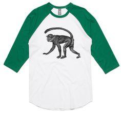 theIndie Sneaky Monkey (Black) 3/4-Sleeve Raglan Baseball T-Shirt