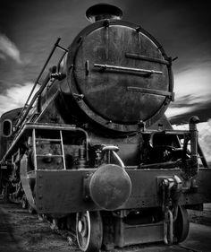 Mono HDR of Margate Train in Tasmania, Australia. Vintage Trains, Old Trains, Old Steam Train, Dark City, Steam Engine, Train Tracks, Black White Photos, Locomotive, Dog Training