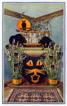 Halloween decorating ideas - Ladies Home Journal Magazine October 1919- Clever use of Umbrella as Fireplace Screen