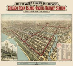 Antique Map of Chicago showing Elevated Train by BlueMonoclePrints, $40.00
