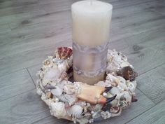Pillar Candles always welcome Seashell Centerpieces, Beach Wedding Centerpieces, Christmas Centerpieces, Seaside Shops, Southern Charm, Wedding Themes, Pillar Candles, Sea Shells, Reception