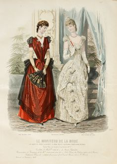 Le Moniteur de la Mode 1888. Left: Sheer black net over red silk. Right: lace fown